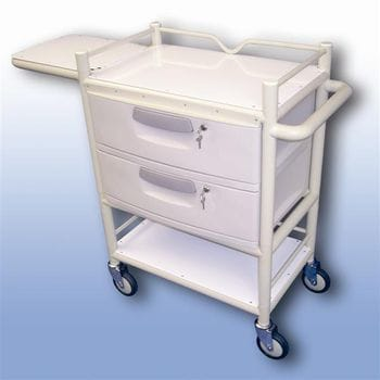 Lockable 2 draw trolley fold table