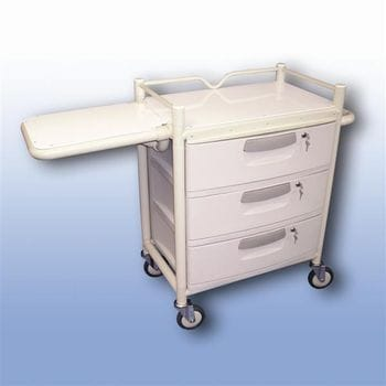 Lockable 3 draw trolley fold table)