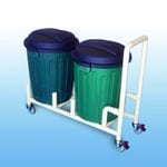 Double 75Litre Bin dolly with handle