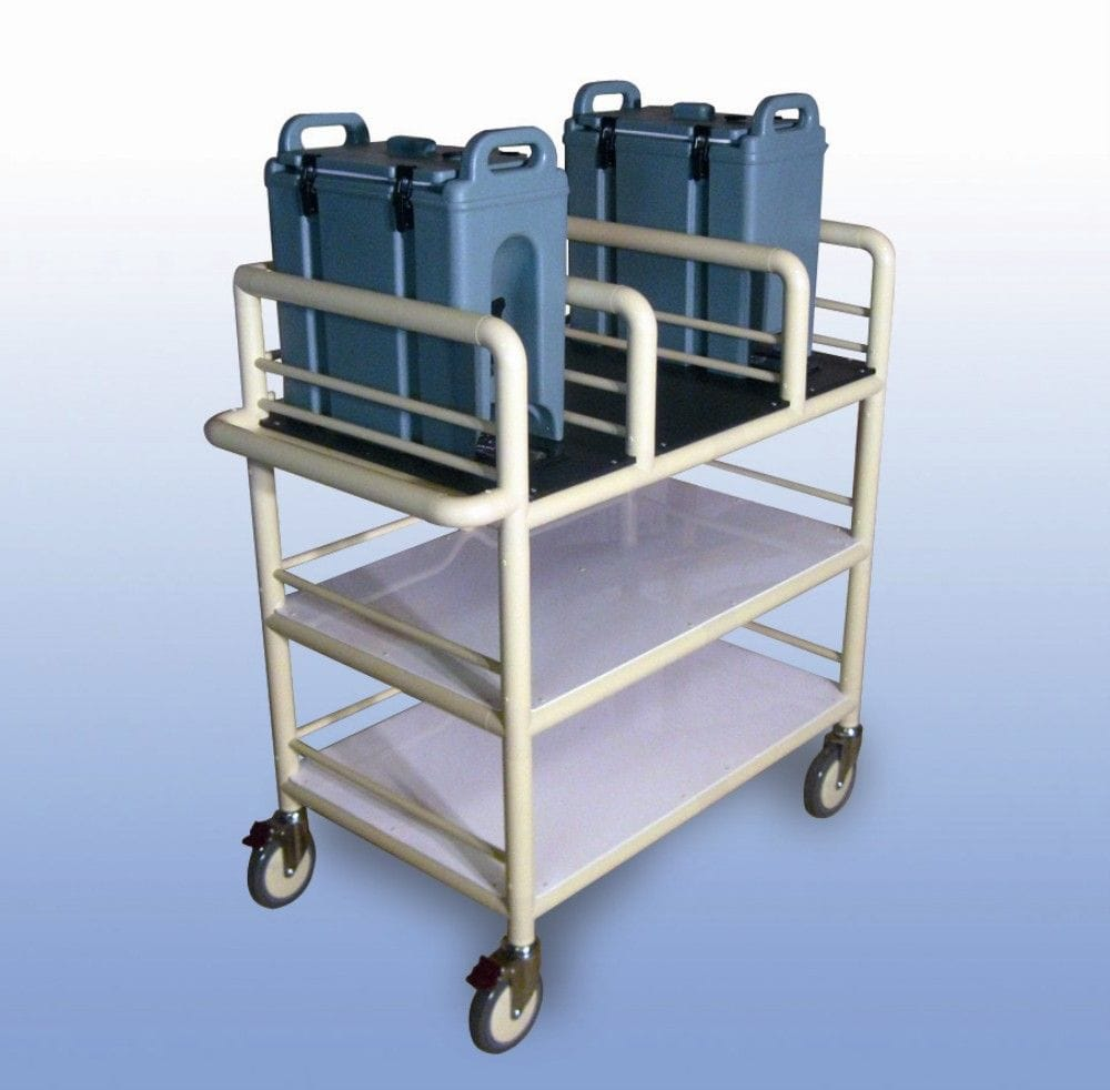 3 Shelf double urn trolley with guard rails