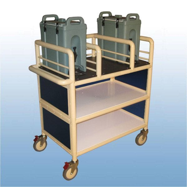 3 x Shelf enclosed double urn trolley