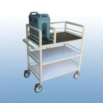 3 Shelf single Urn trolley with guard rails