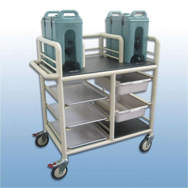2 x Bay double urn trolley with trays and tubs