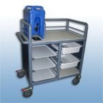 2 Bay Enclosed single urn trolley with trays and tubs