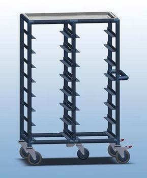 Double Bay 16 x Tray service trolley with recessed top