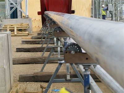 Rotacaster 125mm wheels are ideal for use as pipe rollers.