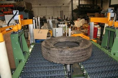 The Rotacaster omni-directional wheel is a fantastic alternative to conveyor rollers where goods need to be moved 360 degrees. This example from Gislotica who are based in Portugal, uses the single 125mm Rotacaster multi-directional wheel for their lubricator for heavy tires (up to 250kg per tire)