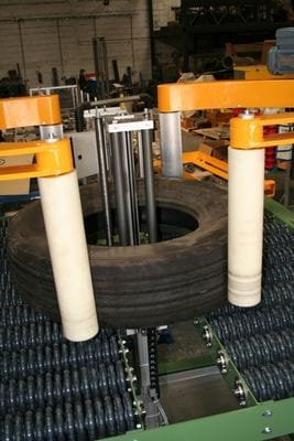 Rotacaster 125mm single multi-directional wheel used on conveyor transfer station used to lubricate vehicle tyres up to 250kgs in weight.