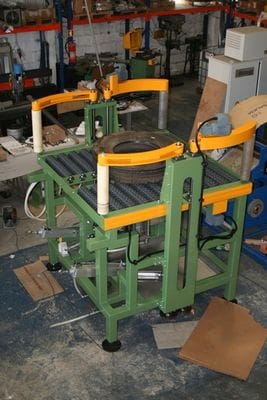 Rotacaster 125mm single omni wheels used as an alternative to conveyor rollers