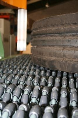 Rotacaster 125mm omni wheels used in conveyor application
