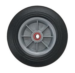 "Wheel, 200mm (8"") solid rubber on polyolefin hub with 5/8"" premium bearing,"