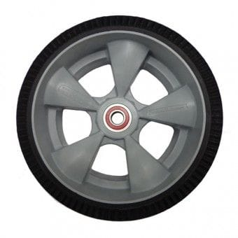 "Wheel, 250mm (10"") foam tyre, interlocking polyethylene hub with semi-precision bearings"