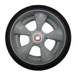 "Wheel, 250mm (10"") foam tyre, interlocking polyethylene hub with semi-precision bearings"