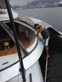 Precarious window repair using Fix190 on the Super Yacht Adastra.